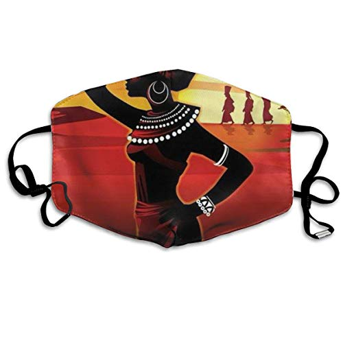 Women & Men Earloop Half Face Mouth Masks Face Masks Anti-Dust Face and Nose Cover - Soft Windproof Kaomoji Mouth Mask for Kids Youth Boys Girls (African Women Desert Painting) ()