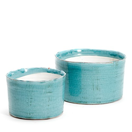 (WHW Whole House Worlds Beach Chic Planters, Set of 2, Dark Aqua Marine Glaze, Artisinal Rustic Crackle Finish, Distressed Terracotta, Bottom Pads, 5 D x 4 H, 8 3/4 D x 8 3/4 Inches Inches Tall)