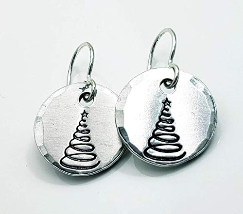 Christmas Tree Earrings Sterling Silver & Aluminum