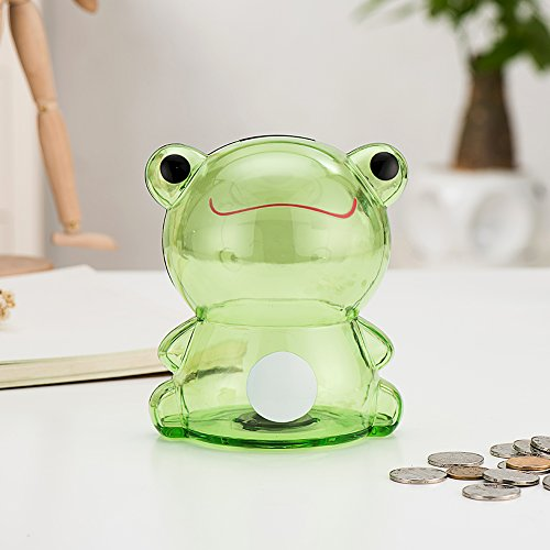 Girlwill Crystal Clear Piggy Bank Green Froggy Coin Box for Adults & Girls 5.5