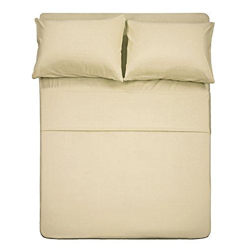 BestSeason Full Size Camel Bed Sheets - Super Soft Luxury Hotel Deep Pocket Bedding Fits Pillow Top - 4 Piece Set