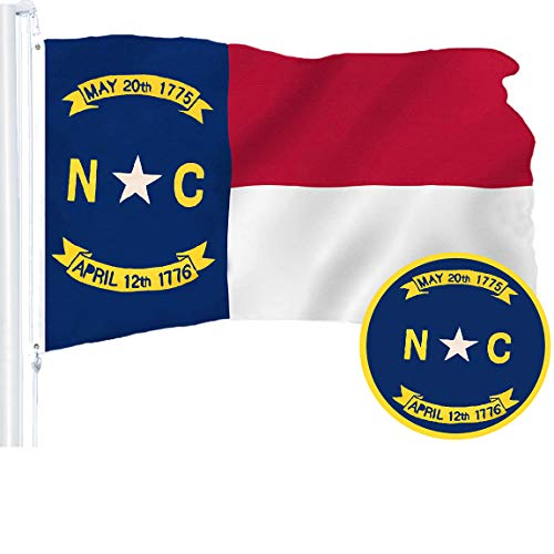 G128 - North Carolina State Flag | 3x5 feet | Embroidered 210D - Indoor/Outdoor, Vibrant Colors, Brass Grommets, Quality Polyester - North Carolina Outdoor State Flag