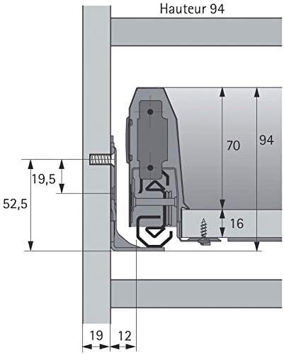 D/écor : Blanc HETTICH arcitech Longueur : 500 mm Tiroir coulissant en kit hauteur 94 mm