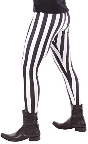 Revolver Fashion White and Black Stripe Circus Meggings: USA Made Men's Yoga & Fashion Leggings (Large, White & Black Stripe) (Mens Sheer Stripe Spandex)