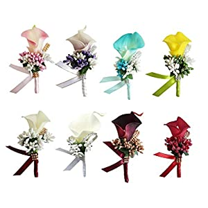 Prettyia Set of 8 Calla Berry Wedding Corsages and Boutonnieres Bride Groom Flower Boutonnieres Marriage Prom Brooch Pins 113
