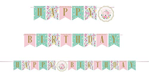 Floral Tea Party Happy Birthday Banner - 1 per Pack - Party ()