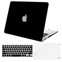 Mosiso Plastic Hard Case with Keyboard Cover with Screen Protector for MacBook Air 11 Inch(Models: A1370 and A1465), Black