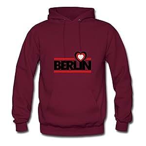 Berlin_f3 X-large Round-collar Women Cotton Burgundy Hoodies