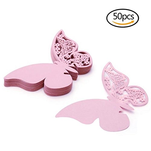50 Pcs Butterfly Wine Glass Paper Place Cards White - 9