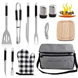 Grilljoy BBQ Grill Accessories Tool Set with 15 can Gray...