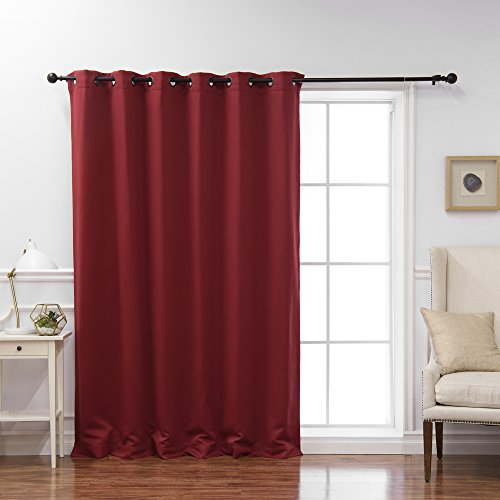Best Home Fashion Cardinal Red Wide Width Grommet Top Thermal Blackout Curtain 80