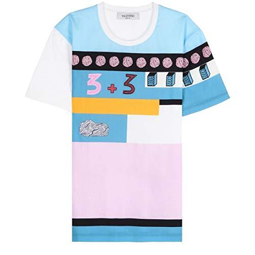 shirt T bianco Valentino Azzurro Nb0mg06h3nf0bo Cotone Donna 1zAT5wq