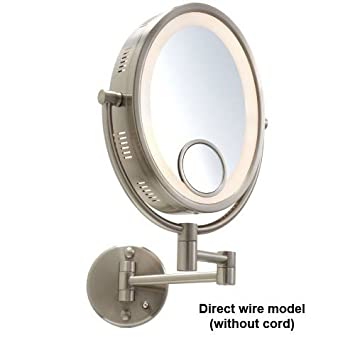 Gordon glass hl9515h 10 nickel finish halo lighted wall mount gordon glass hl9515h 10quot nickel finish halo lighted wall mount mirror with 10x and 15x aloadofball Image collections
