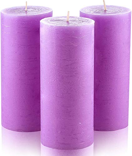 Melt Candle Company Set of 3 Lilac Pillar Candles 3