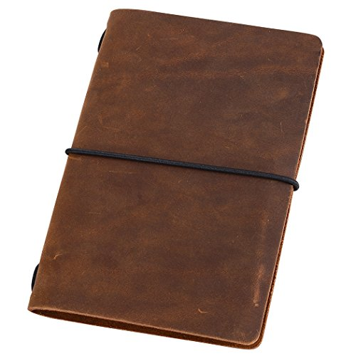 Pocket Travelers Notebook, Refillable Leather Travel Journal for Men & Women, Notebook Cover for Field Notes, Moleskine Small 3.5 x 5.5 Inches, Brown (Small Leather Journal)