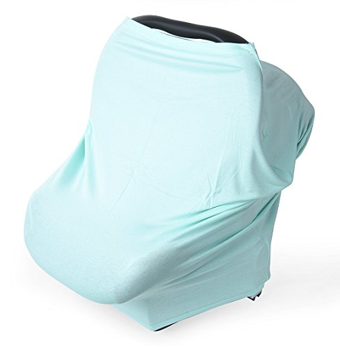 (Nursing Breastfeeding Cover Scarf, Baby Car Seat Canopy, Shopping Cart, Stroller, Car seat Covers for Girls and Boys, Premium Soft, Stretchy, Multi Use Infinity Shawl Magic Mint Color)