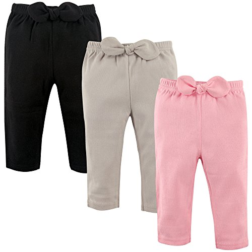 Hudson Baby Unisex Baby Cotton Pants, Light Pink Black, 6-9 Months
