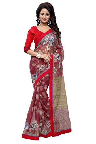 - Mirchi Fashion Women's Art Silk (Super Net) Floral Printed Indian Saree