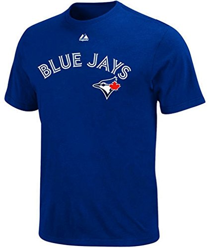 fan products of Toronto Blue Jays MLB Majestic Mens Wordmark T Shirt Royal Blue Big & Tall Sizes (2XT)