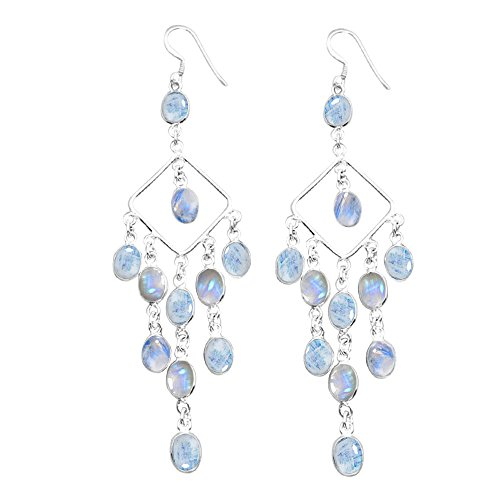 22.00ctw, Genuine Rainbow Moonstone & 925 Silver Plated Dangle Earrings Made By Sterling Silver Jewelry