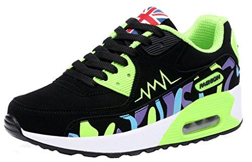 Amortiguación Moda Correr Aire para Caminando Zapatos Camuflaje Verde Zapatillas al Aire Libre Entrenadores NEWZCERS Deportes Mujeres Cómoda AxqYdwwv