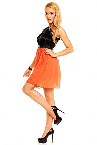 064548484b6 ... Festkleid Ballkleid Cocktailkleid Kleid Abendkleid Schwarz-orange  Hs-302 Blumenmuster Mayaadi Partykleid ...