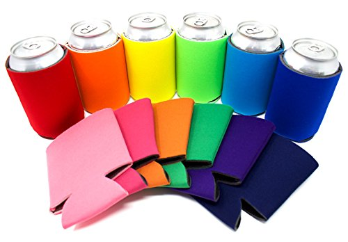 TahoeBay 12 Can Sleeves - Multi Color Beer Coolies for Cans and Bottles - Bulk Blank Drink Coolers - Create Custom Wedding Favor, Funny Party Gift (12-Pack)