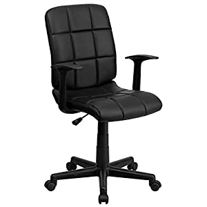 Flash Furniture Mid-Back Quilted Vinyl Swivel Task Chair with Arms