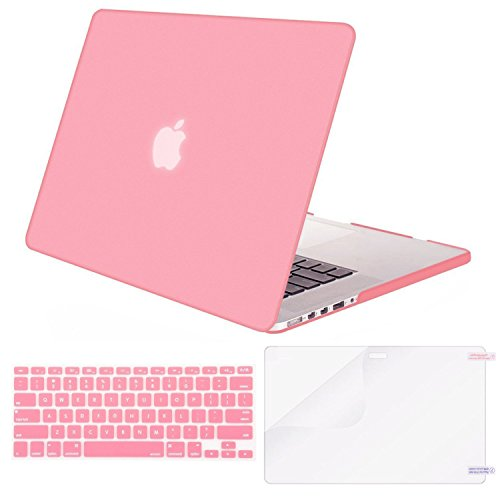 MOSISO Case Only Compatible MacBook Pro (W/O USB-C) Retina 13 Inch (A1502/A1425)(W/O CD-ROM) Release 2015/2014/2013/end 2012 Plastic Hard Shell & Keyboard Cover & Screen Protector, Pink