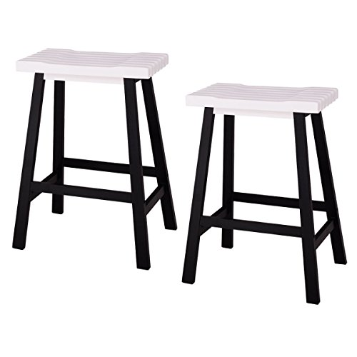 COSTWAY Wood 24-Inch Saddle Seat Counter Stool Vintage Dining Kitchen Pub Chair Counter Height Barstool, Set of 2