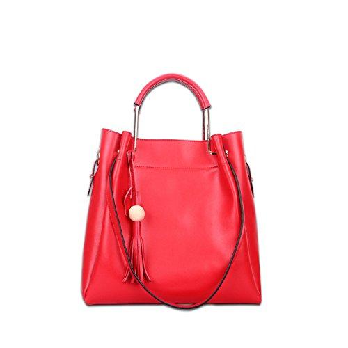 WenL Moda Nuevo Fringe Borlas Bolsos Diagonales Bolsas De Hombro Bolsas Cross-Body Top-Handle Bags Totes,Winered Red