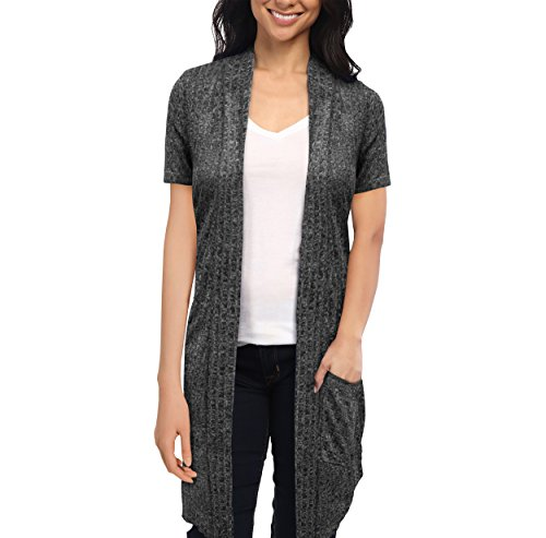 HyBrid & Company Womens Casual Short Sleeve Open Front Drape Cardigan KSKW31128 10474 Black Large (Short Long Cardigan Sleeve)