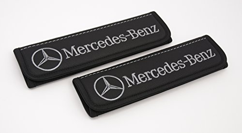 - Mercedes Benz seat belt covers pads Accessories for drivers Black seatbelt cover pad with grey Mercedes Benz emblem Interior accessories 2 pcs
