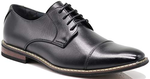 Men's Classic Italy Modern Oxford Wingtip Captoe 2-Tone Lace Dress Shoes (11, ()