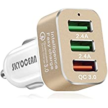Skyocean Fast Car Charger Adapter with Quick Charge 3.0 42W 3 Ports Rapid USB Car Phone Charger Splitter for iphone X 8 7 plus Samsung Galaxy S8 plus S7 Edge Note 8 (Gold)