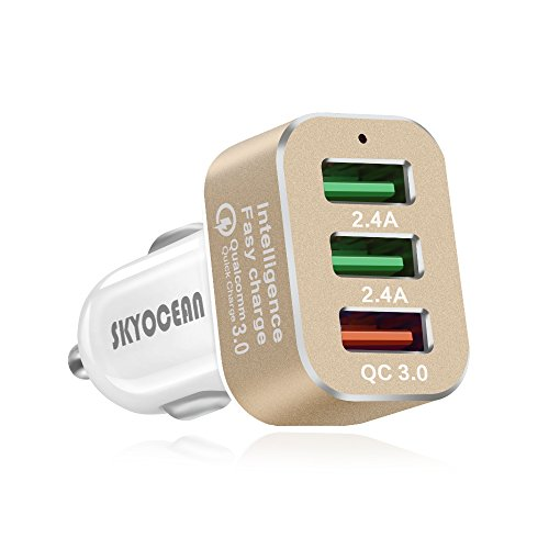 Fast Car Charger Adapter with Quick Charge 3.0 42W 3 Ports Rapid USB Car Phone Charger Splitter for iphone X 8 7 plus Samsung Galaxy S8 plus S7 Edge Note 8 (Gold)