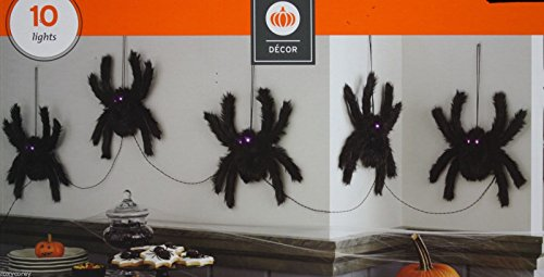 Target Decor Halloween Prop 10 Purple LED Lighted Eyes Spiders Decoration ()