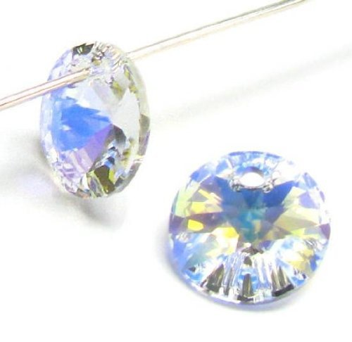 24 pcs Swarovski Crystal 6428 Xilion Rivoli Pendant Charm Clear Ab 6mm / Findings / Crystallized Element