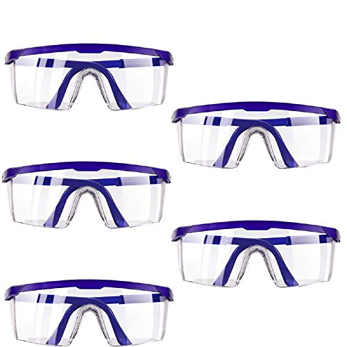 Safety Glasses, Eyewear Protective Safety Goggles with Universal Fit and Clear View,Anti-fog Anti-Scratch and Impact Resistant Glasses Spectacles - 5 Packs