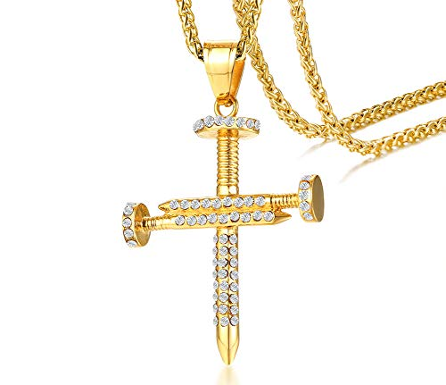 - MEALGUET Gold Plated Hip Hop Stainless Steel Iced Out Crystal Nail Cross Pendant Necklace Bling Bling Cross with 24