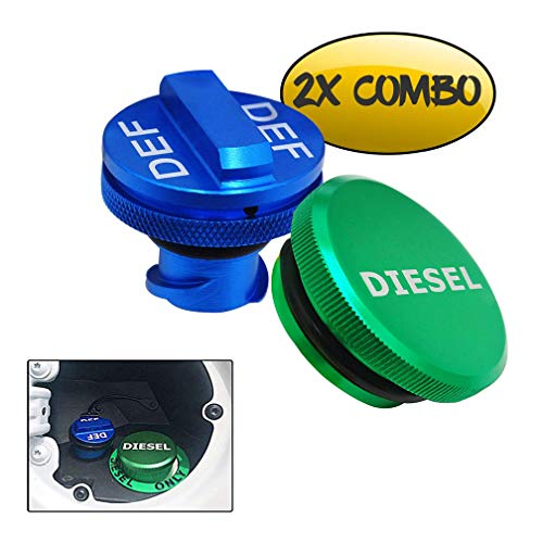 Combo Exhaust Systems - Diesel Fuel Cap for Dodge,Billet Aluminum Fuel Cap Combo Pack,Magnetic Ram Diesel Billet Aluminum Fuel Cap and DEF Cap Combo for 2013-2018 Dodge Ram Truck 1500 2500 3500 with New Easy Grip Design