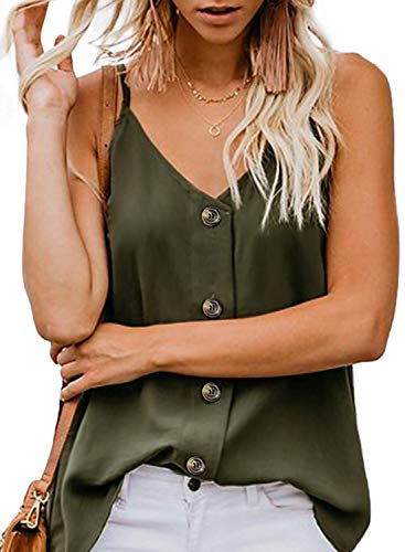 OYANUS Womens Tops V Neck Button Down Strappy Tank Tops Loose Casual Summer Sleeveless Shirts Blouses Olive S