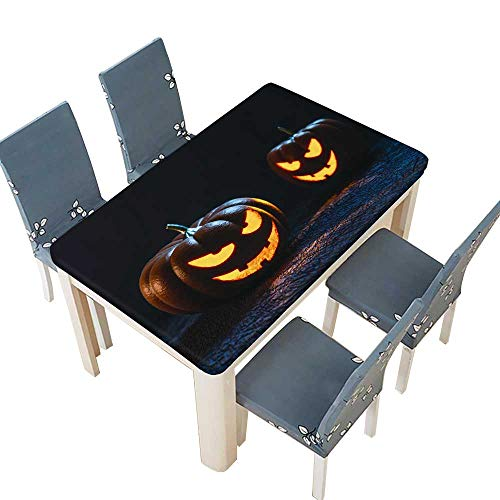 PINAFORE Polyester Table Cloth Halloween Pumpkin Lantern Table W25.5 x L65 INCH (Elastic Edge) -