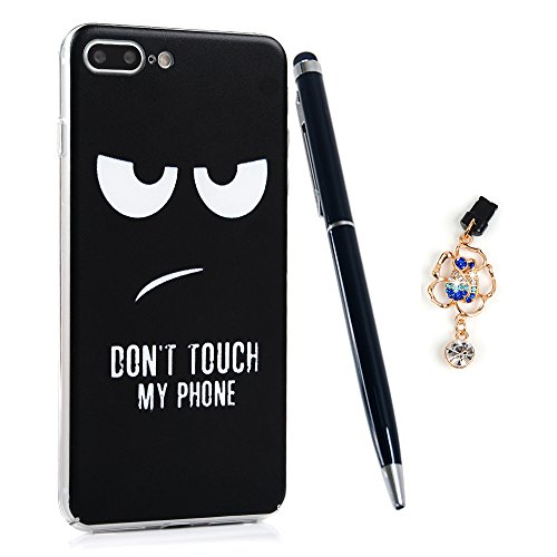 iPhone 7 Plus Case, iPhone 8 Plus Case, Full Body Ultra-Thin Plastic Cover Two Eyes Sad Face Black Pattern Shockproof Lightweight Hard Protective Bumper Skin Protector ZSTVIVA - Don't Touch My Phone
