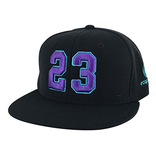 Caprobot Custom Embroidered Hat Player Jersey Number #23 Snapback Cap Black Purple Aqua