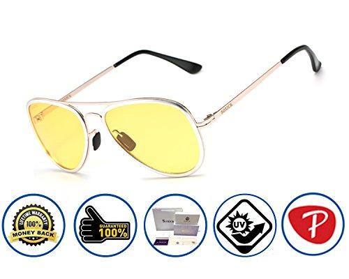 Soxick Women's HD Metal Night Driving Glasses Polarized Aviator Pilot Full Rim Sports Sunglasses for - Sunglasses Polerized