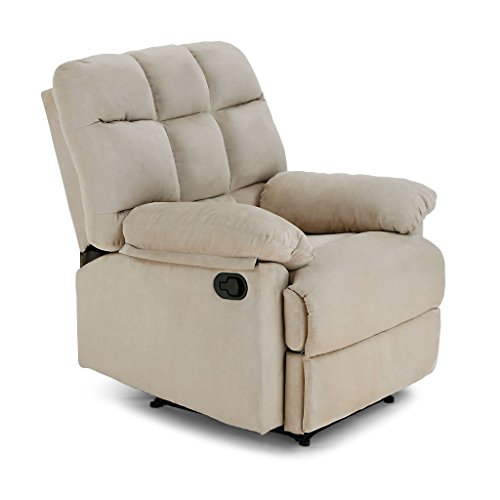 LANGRIA Living Padded Recliner Sofa Chair for Home or Office, 2 Reclining Positions, Detachable Armrests/Footrests with Premium Soft Foam Padding, Beige
