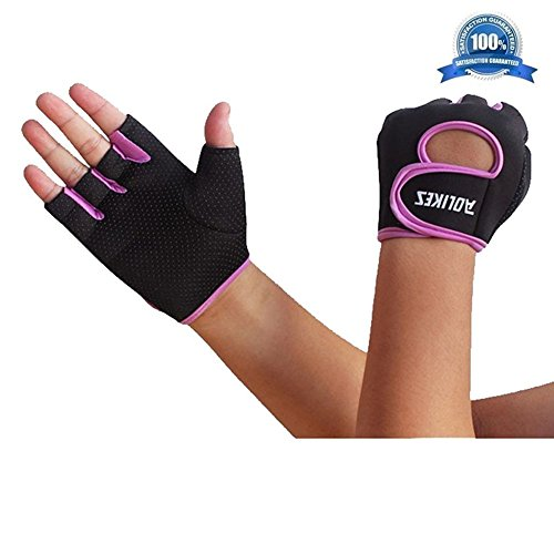 Wonzone Anti-skid Half Finger Gloves unisex Cycling Bike Bicycle Gel Gloves Half Finger Ultra-breathable Outdoor Sports Shockproof half finger Glove for Women Men Kids Girls Boys Teens (Purple S)