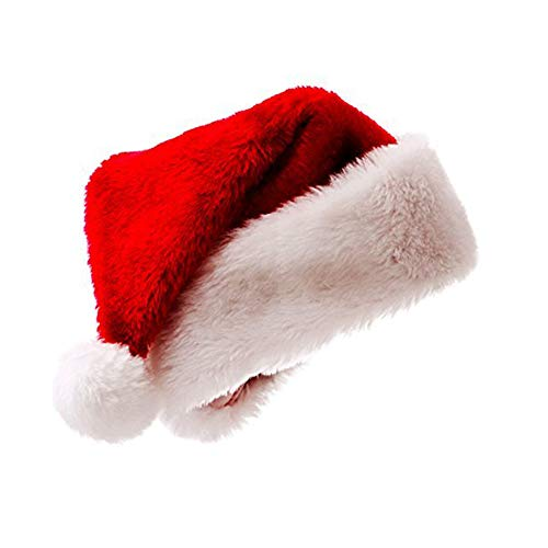 Meiosuns Santa Hat Christmas Hat Plush Christmas Hats for Adults Kids Santa Claus Hats Caps, Xmas Family Holiday Party Supplies Gift (1pcs, S: Under 5 Years Old)