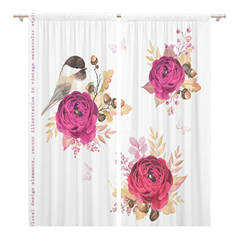 Tinmun 104 x 84 Inch Decorative Drapes Floral Autumn Flowers Ranunculus Oak Branches Acorns and Birds 2 Panels Window Curtains for Living Room Bedroom Printed